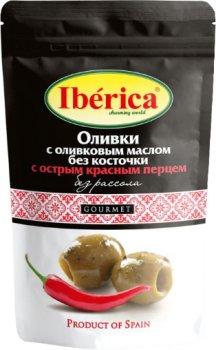Оливки без розсолу Iberica з гострим червоним перцем 70 г (8436024298390)