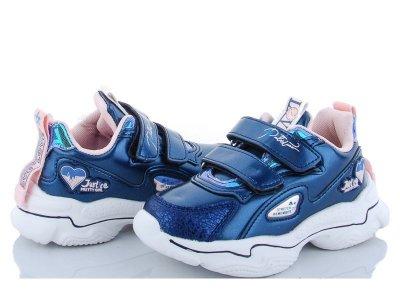 Кроссовки детские для девочки блестящие цвет синий размер (522324)