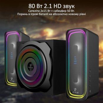 Акустична система Vertux SonicThunder-80 Вт 2.1 LED Black (sonicthunder-80.eu)