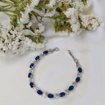 Браслет с синими камнями и цветами 16 2114 R8700