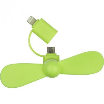 Міні вентилятор для телефону micro USB / Lightning зелений