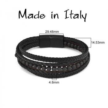 """Браслет """"Made in Italy"""" многослойный кожаный браслет с чёрными бусинами из натурального камня 18,5 см чёрный"""