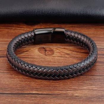 """Браслет """"Made in Italy"""" кожаный ручное плетение 18,5 см черный с коричневым"""
