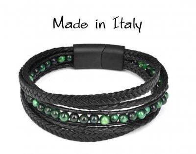 """Браслет """"Made in Italy"""" многослойный кожаный браслет с зелеными бусинами из натурального камня 18,5 см чёрный"""