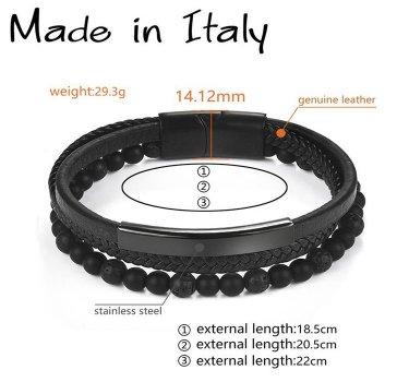 """Браслет """"Made in Italy"""" кожаный со стальными элементами и бусинами из натурального камня 18,5 см чёрный"""
