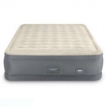 Двухспальная надувная Кровать матрас Intex PremAire 64926 152x203x46 см со встроенным Электронасосом Бежевый (2629)