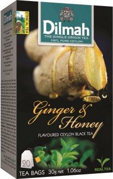 Упаковка чая черного пакетированного Dilmah Имбирь и мед 12 шт по 20 пакетиков (19312631142119)