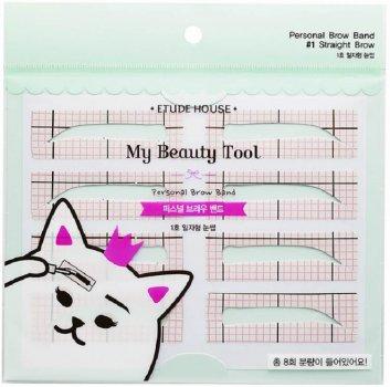 Трафарети для брів Etude House My Beauty Tool Personal Brow Band #1 Straight Brow 2 пачки по 8 шт. (8806199472633)