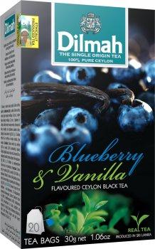 Упаковка чая черного пакетированного Dilmah Голубика и ваниль 12 шт по 20 пакетиков (19312631142065)