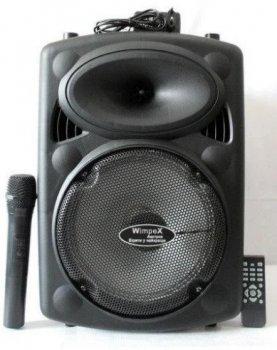 Колонка-чемодан с аккумулятором Wimpex WX-810C мощность 60W, радиомикрофон, Bluetooth, SD+USB.