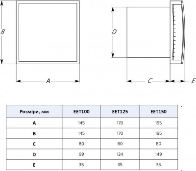 Вытяжной вентилятор Europlast EEТ150S серебро