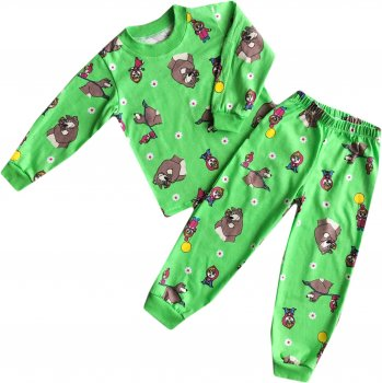 Пижама (футболка с длинным рукавом + штаны ) AV Style 03-2-2029 98 см Зеленая (ROZ6400017760)