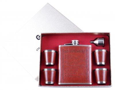 Подарочный набор с флягой для мужчин 10 Алкогольных Заповедей Гранд Презент TZ-906
