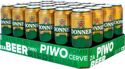 Упаковка пива Donner Lager светлое фильтрованное 4% 0.5 л х 24 шт (5900535000436G)