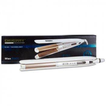 Стайлер для волосся 2 в 1 ( утюжок + гофре) Geemy GM 402 Керамічне покриття З регулюванням температури