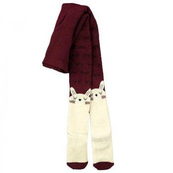 Махрові колготки теплі для дівчинки BROSS 17948 110 - 116 см бордовий з молочним (413511)