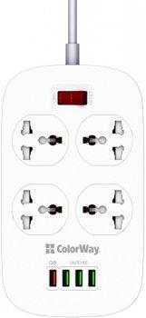 Мережевий фільтр-подовжувач ColorWay 4 розетки/4 USB White (CW-CHU44QW)
