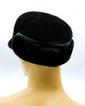 "Чоловіча хутряна кепка зимова шапка з хутра норки з вушками VECONS ""Конфедератки"" One size коричнева"