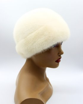 """Жіноча хутрова капелюх з норки VECONS """"Оленка"""" One size біла"""