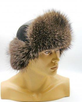 "Зимова чоловіча шапка Вушанка з хутра єнота VECONS ""Пілот"" One size натурального кольору"
