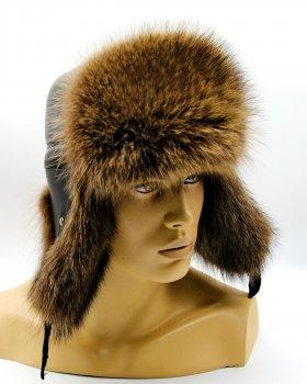 """Мужская шапка ушанка из меха енота VECONS """"Пилот"""" One size тонированная"""