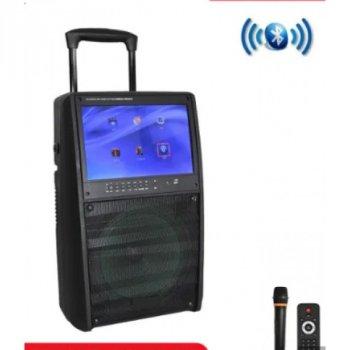 Портативная колонка с экраном SL120-13 С 2 МИКРОФОНАМИ / 200W, акустика, домашний кинотеатр, музыкальный центр, черная