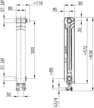 Радиатор алюминиевый ARMATURA G500F 878-151-44 правая секция (нижнее угловое подключение)