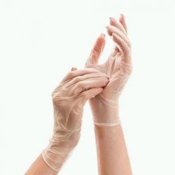 Одноразові рукавички вінілові без пудри нестерильні Medicom Safe Touch Розмір M Прозорі