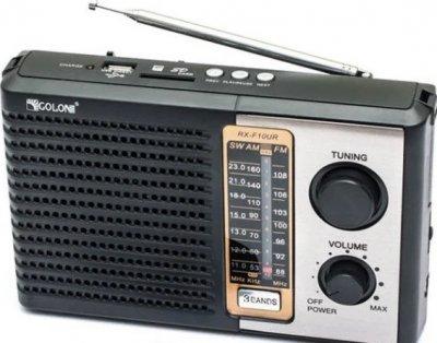 Радиоприёмник GOLON RX-F10UR беспроводной портативный + поддержка MP3/USB/SDcard Черный (11672)