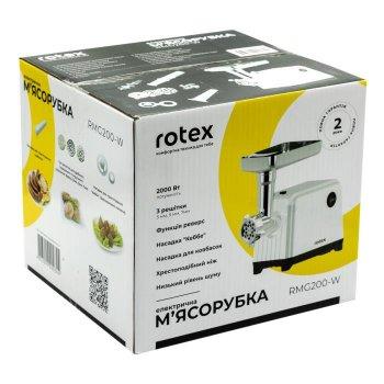 М'ясорубка електрична Rotex RMG 200-W 2000 Вт реверс шнек з алюмінію кебе ковбаски Біла