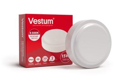 Светильник ЖКХ LED 15W круг 4500K 220V Vestum