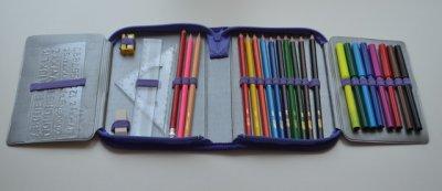 """Пенал CLASS """"Winx"""", 1 отделение, 2 отворота, фиолетовый, наполненый, 93031"""