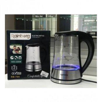 Чайник электрический стеклянный электрочайник с LED подсветкой Rainberg RB-704 2 л 2200 Вт