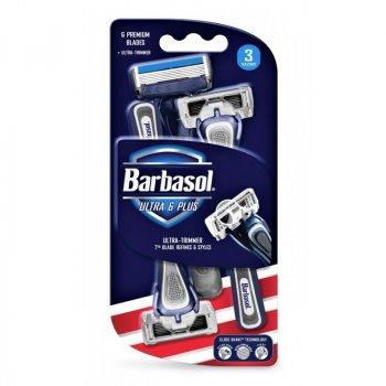 Одноразовые бритвенные станки Barbasol Six Blades шесть лезвий 3 шт в упаковке