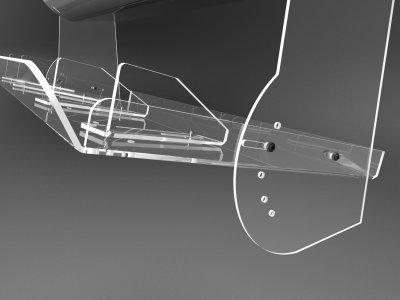 Дефлектор на кондиціонер прозорий з регулюванням, без свердління стіни шириною 800мм Ташута (38-10040-03)