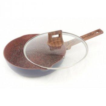 Сковородка с крышкой А-Плюс антипригарное гранитное покрытие, 22 см для индукционных плит (mk-FP-1740)