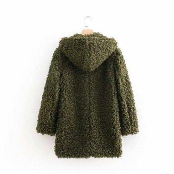 Полушубок жіночий зі штучного хутра з капюшоном Green Berni Fashion Хакі (55625)