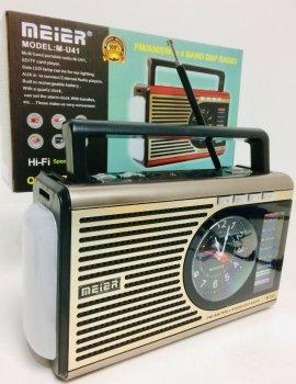 Аккумуляторный Радиоприемник с часами MEIER M-U41 с фонариком и USB Gold