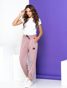 Жіночі спортивні штани теплі NB20049 пудра (Your Boutique)