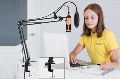 Студійний USB мікрофон Music DJ Pro професійний набір зі стійкою і поп-фільтром
