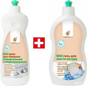 Упаковка засобів Tortilla Екокрем для чищення універсальний з мікрогранулами 500 мл + Екогель для миття посуду 500 мл (4820178063609)