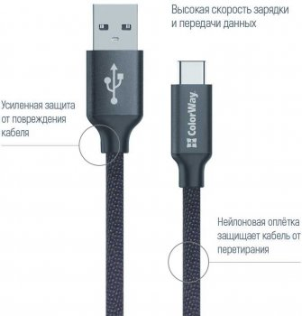 Автомобильное зарядное устройство ColorWay 2USB Quick Charge 3.0 (36W) Blue + Кабель ColorWay USB Type-C 2.1А 1 м Black (CW-CHA011Q-BL-CBU)