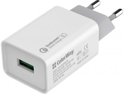Беспроводное зарядное устройство СolorWay Qi FC (10W) с LED ночником + Зарядное устройство ColorWay 1USB QC 3.0 (18W) White (CW-CHW20Q-WT-CHS013Q)