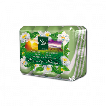 Мыло туалетное твердое Шик 1+1 Beauty с экстрактом белого чая и мяты и питательным кремом 4 шт х 90 г