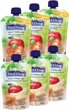 Упаковка фруктового пюре Nutrino Мікс №2 220 г х 6 шт. (86060196575502)