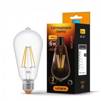 Лампа Filament діммерная ST64FD E27 6Вт 600Лм 4100К VL-ST64FD-06274, 24312, Videx