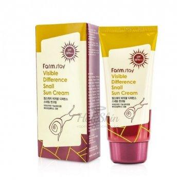 Солнцезащитный крем Farm Stay Visible Difference Snail Sun Cream SPF50PA+++ с экстрактом улитки 70 мл