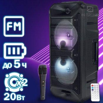 Музична USB колонка Column 05 потужна портативна бездротова з LED підсвічуванням + дротовий блютуз мікрофон для вулиці і будинки – портативна акустична стерео система з акумулятором Bluetooth + FM + AUX + microSD, Чорний