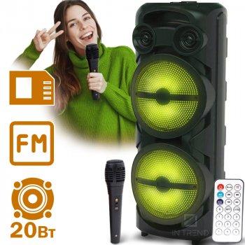 Музична колонка Column ZQS-8202S USB бездротова блютуз з LED підсвічуванням + пульт д/у + безпровідний мікрофон – Потужна портативна портативна акустична система Bluetooth і з акумулятором для вулиці і вдома, Чорний