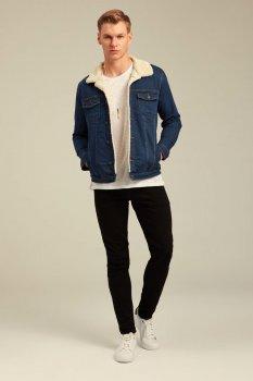Джинсова куртка з хутром uwest Темно-синя
